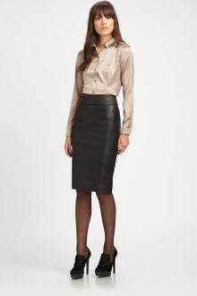 Burberry Stretch leather Pencil Skirt - Lyst