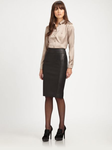 burberry stretch leather pencil skirt in black lyst