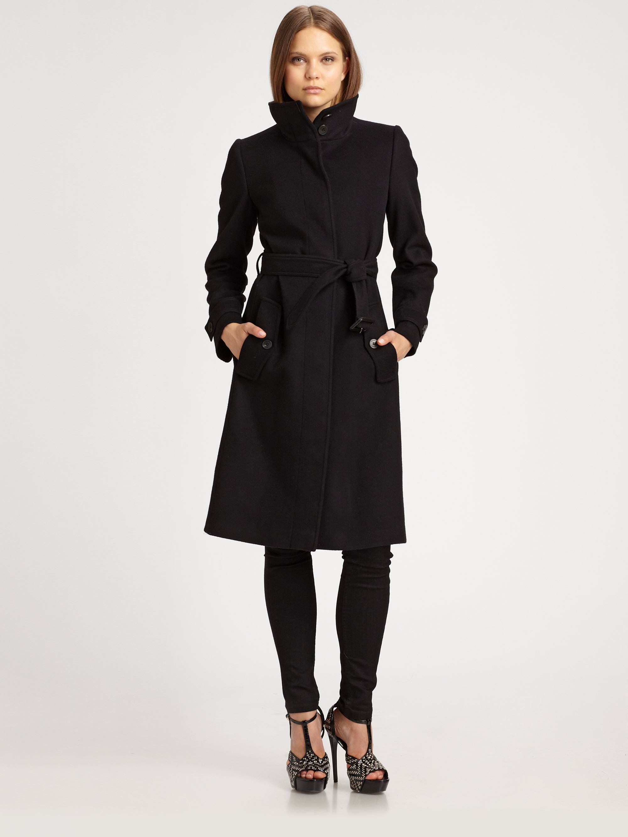 Burberry Wool/Cashmere Belted Coat in Black | Lyst