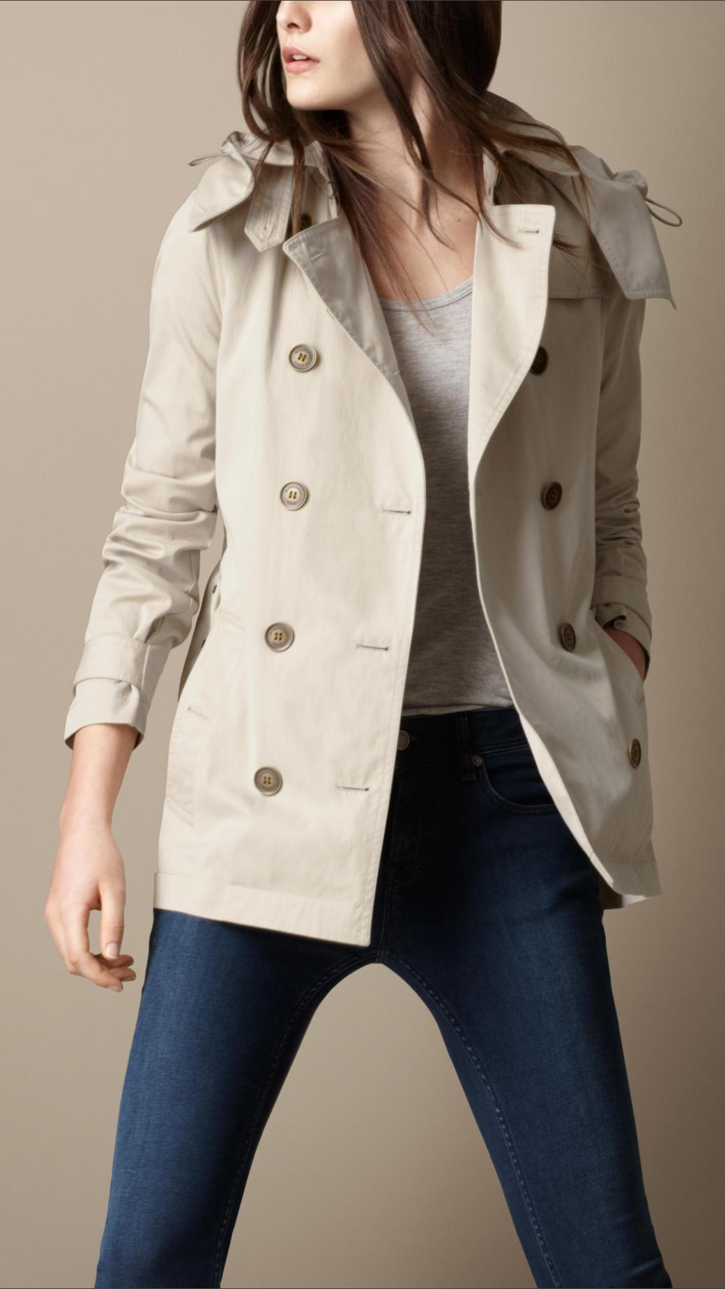 6ad7954e071c Lyst - Burberry Brit Short Cotton Nylon Gabardine Detachable Hood ...
