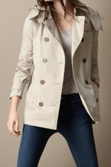 Burberry Brit Short Cotton Nylon Gabardine Detachable Hood Trench Coat - Lyst