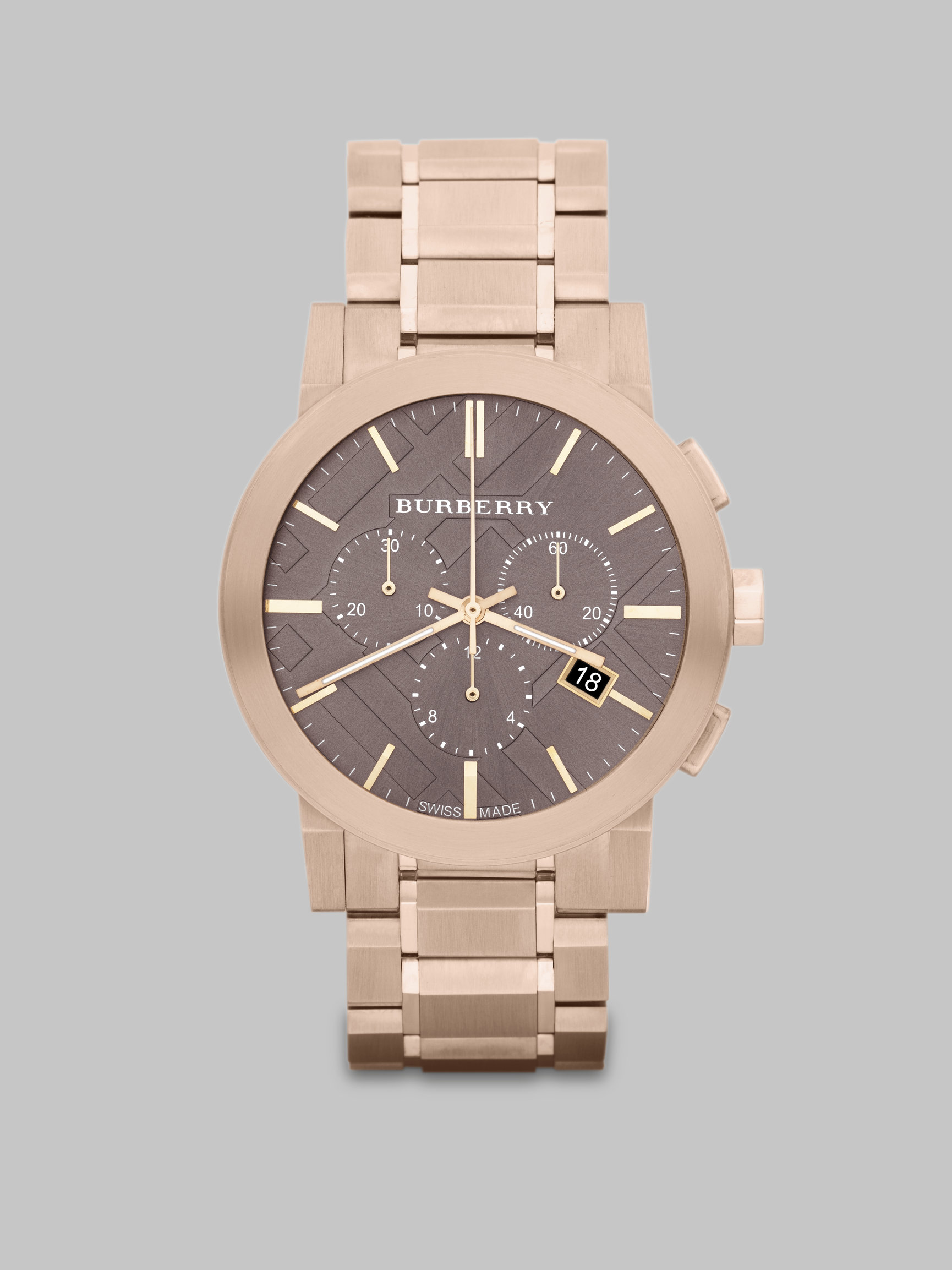 burberry check sted chronograph in gold for