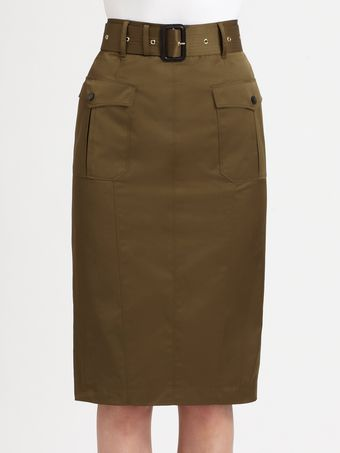 Burberry Belted Pencil Skirt - Lyst