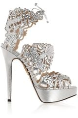 Charlotte Olympia Belinda Cutout Leather Sandals in Silver - Lyst