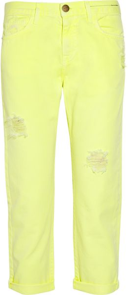 Current/Elliott The Boyfriend Neon Cropped Jeans - Lyst
