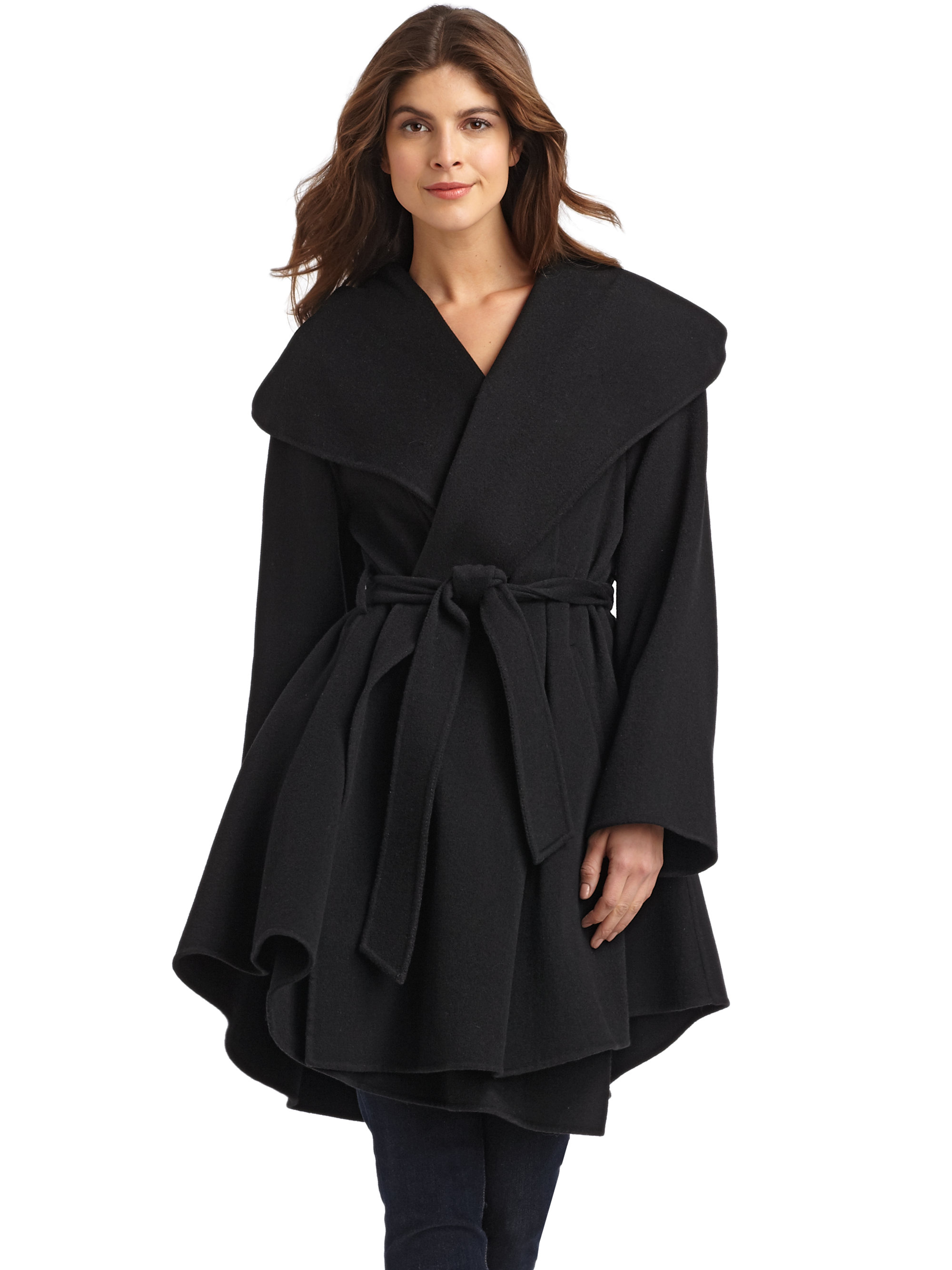 Dawn Levy Wool Cashmere Wrap Coat In Black Lyst