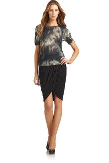Doo. Ri Abstract Print Draped Sleeve Top - Lyst