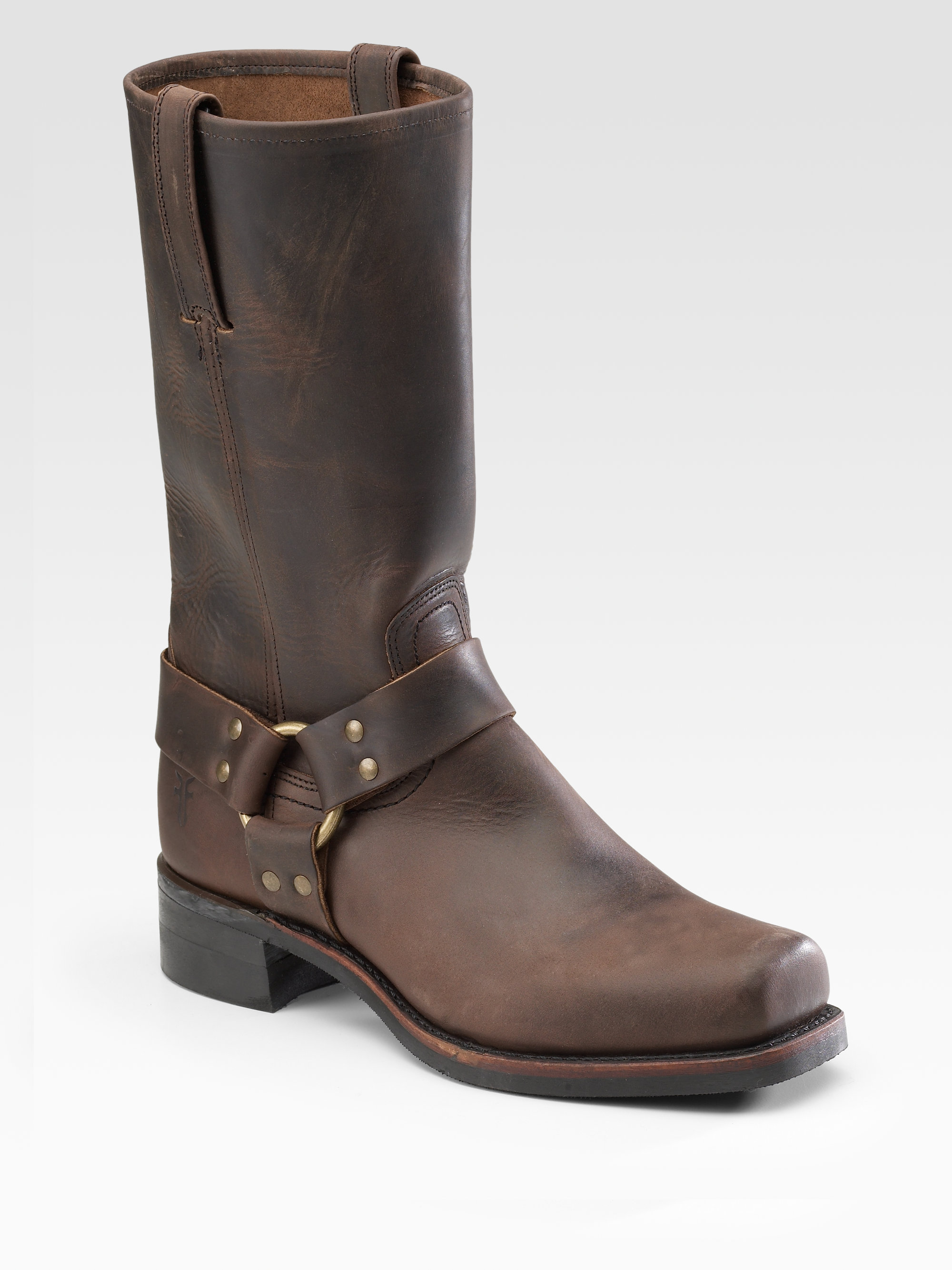 frye leather harness boots in brown for lyst