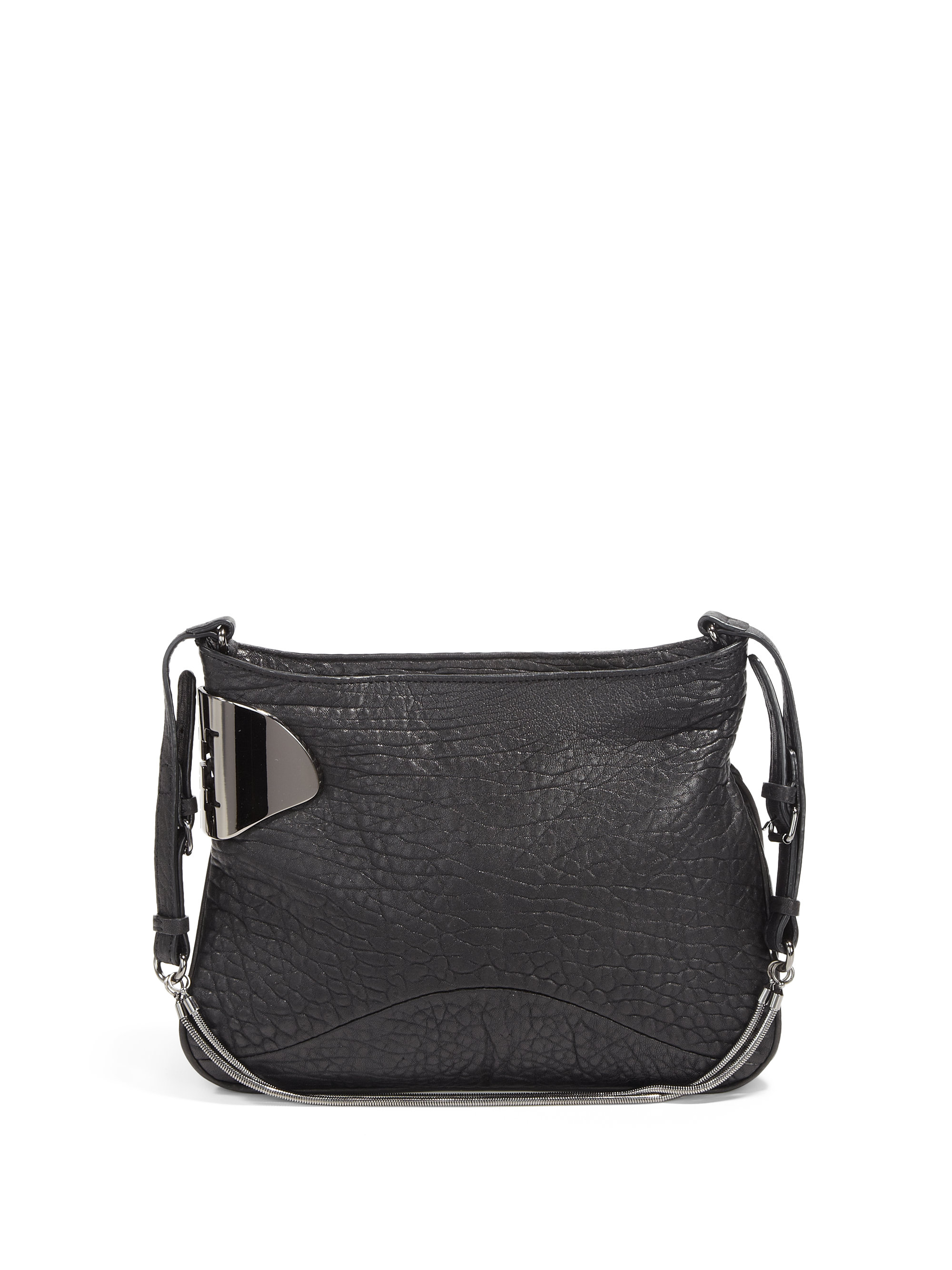 Halston Pebbled Leather Short Shoulder Bag in Black | Lyst