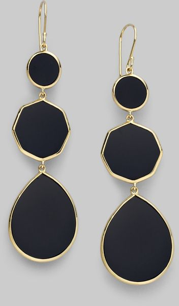 Ippolita Onyx 18k Gold Three Tier Gelato Earrings in Gold - Lyst