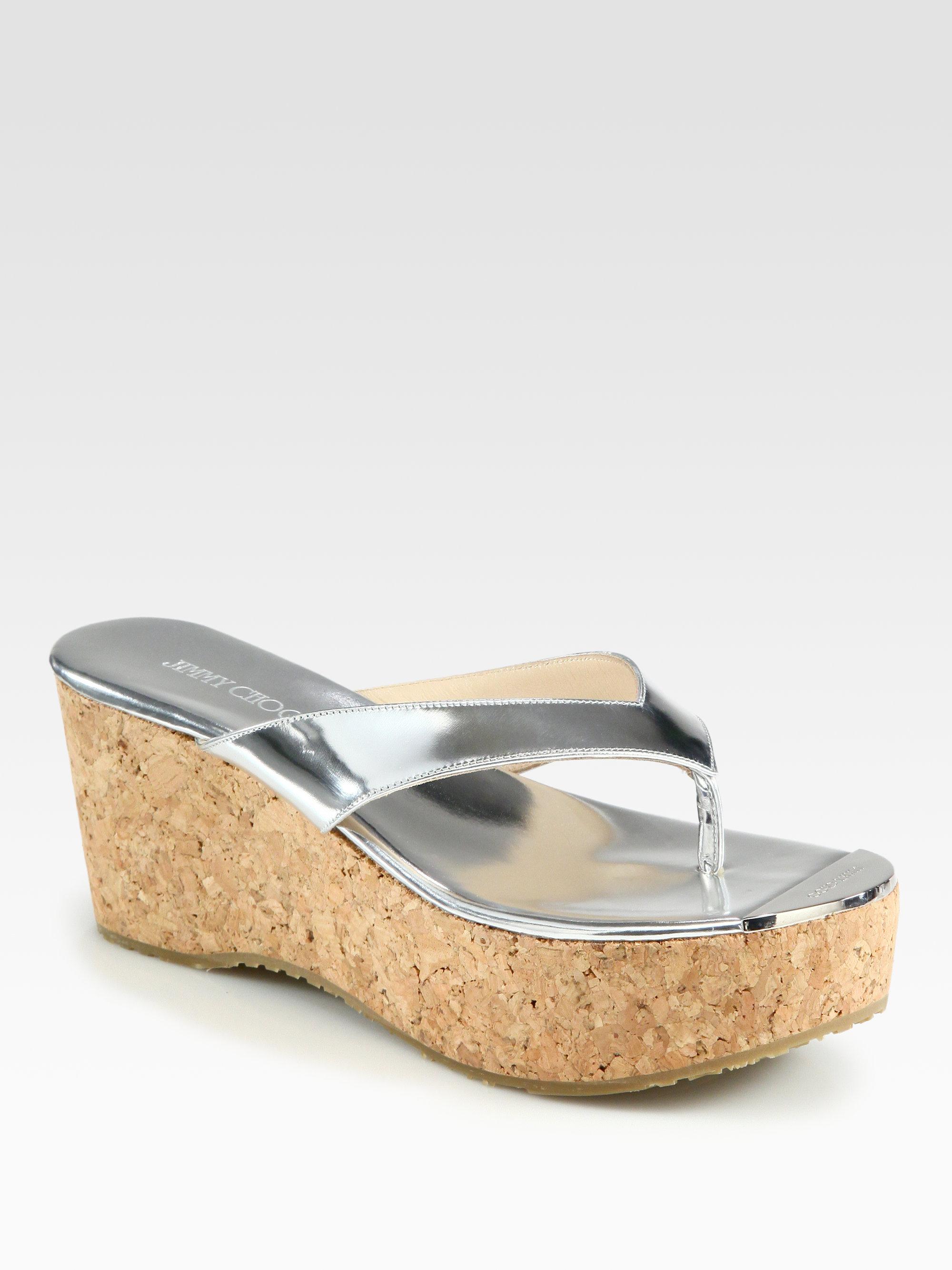 7c7f7105a22 Lyst - Jimmy Choo Pathos Metallic Leather Cork Wedge Sandals
