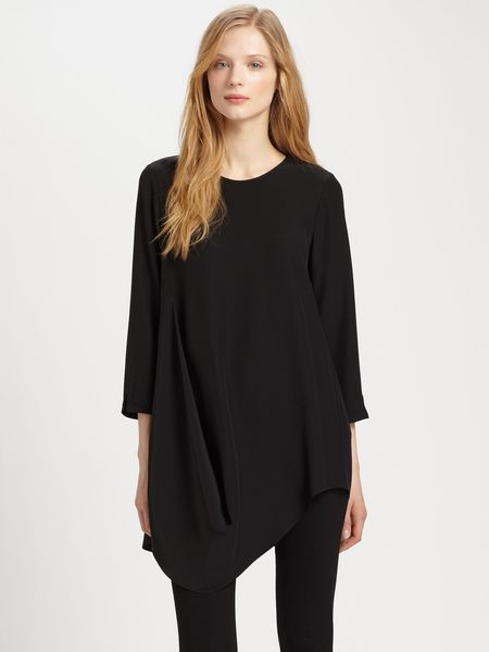 Lafayette 148 New York Barrymore Silk Top in Black - Lyst