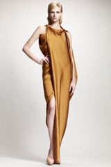 Lanvin Asymmetric Draped Satin Gown - Lyst