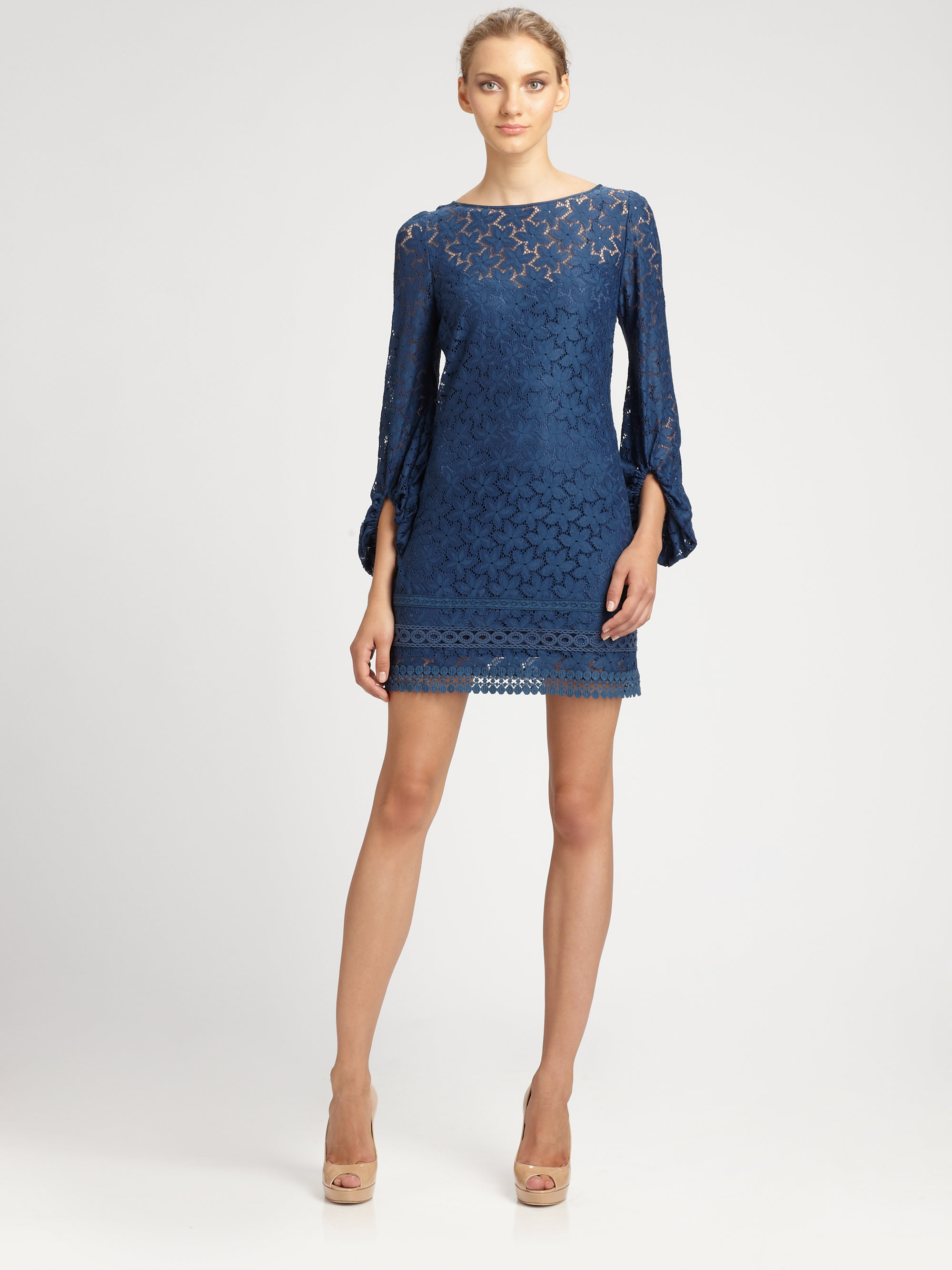 Lyst - Laundry by Shelli Segal Lace Dress in Blue 6d29add31c10