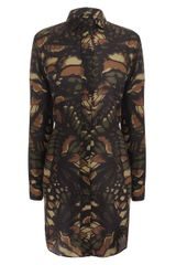 McQ by Alexander McQueen Butterfly Camouflage Military Shirt Dress - Lyst