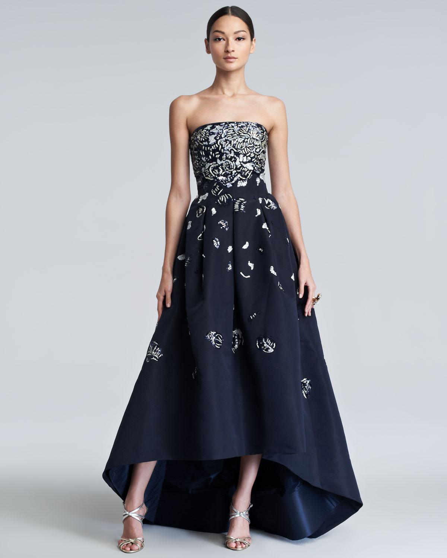 Lyst - Oscar De La Renta Embellished High-Low Gown in Blue