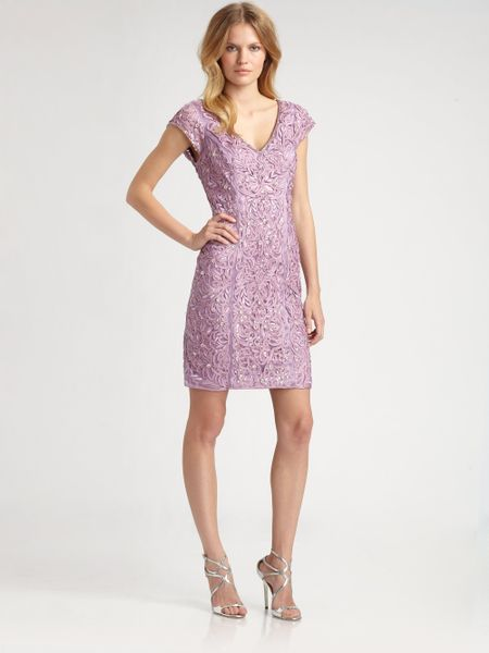Sue wong embroidered beaded dress in purple lavender lyst