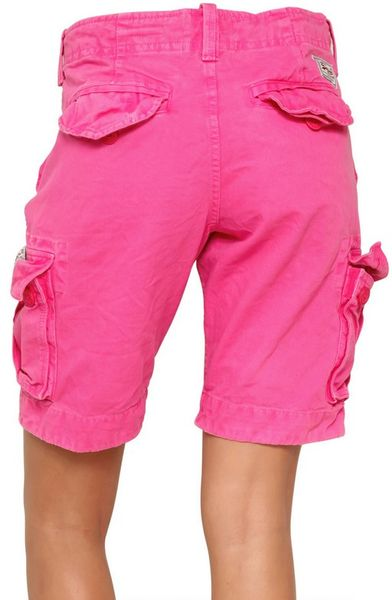 Superdry Cotton Cargo Shorts In Pink Lyst