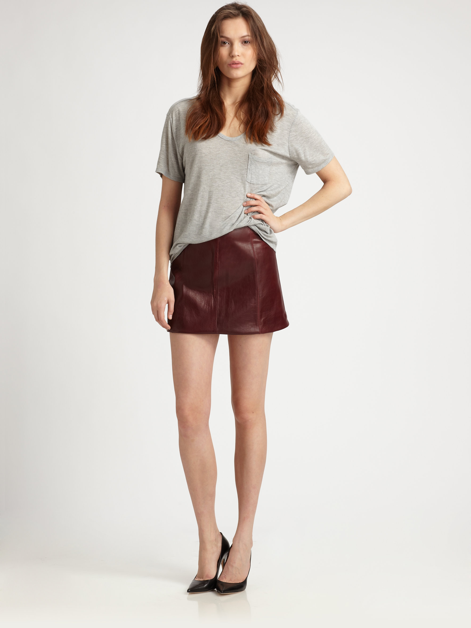 T by alexander wang Leather Mini Skirt in Red | Lyst