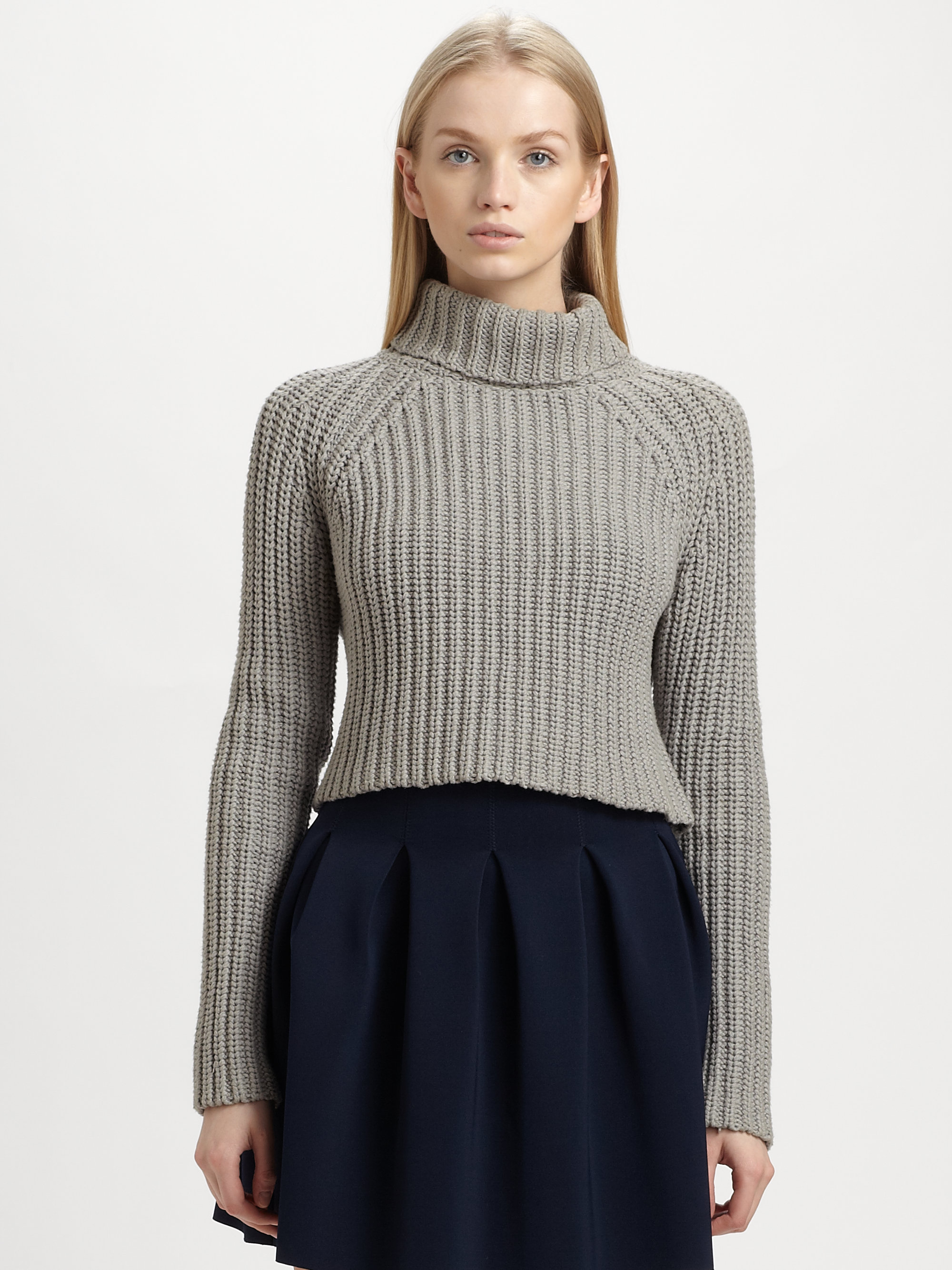 T by alexander wang Cropped Turtleneck Sweater in Gray | Lyst