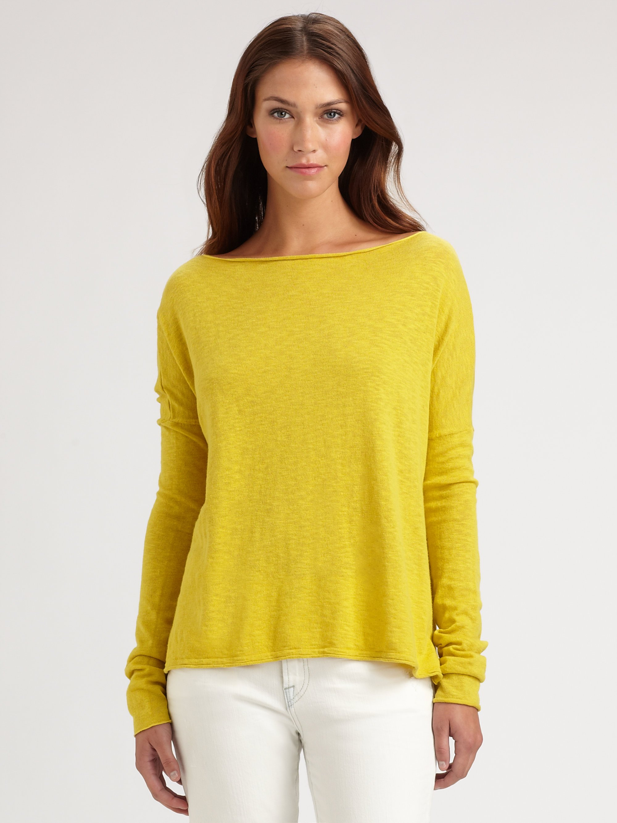 Vince Oversized Boat Neck Slub Cotton Sweater in Yellow | Lyst