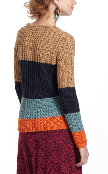Anthropologie Olaf Colorblocked Sweater in Brown (blue motif) Lyst
