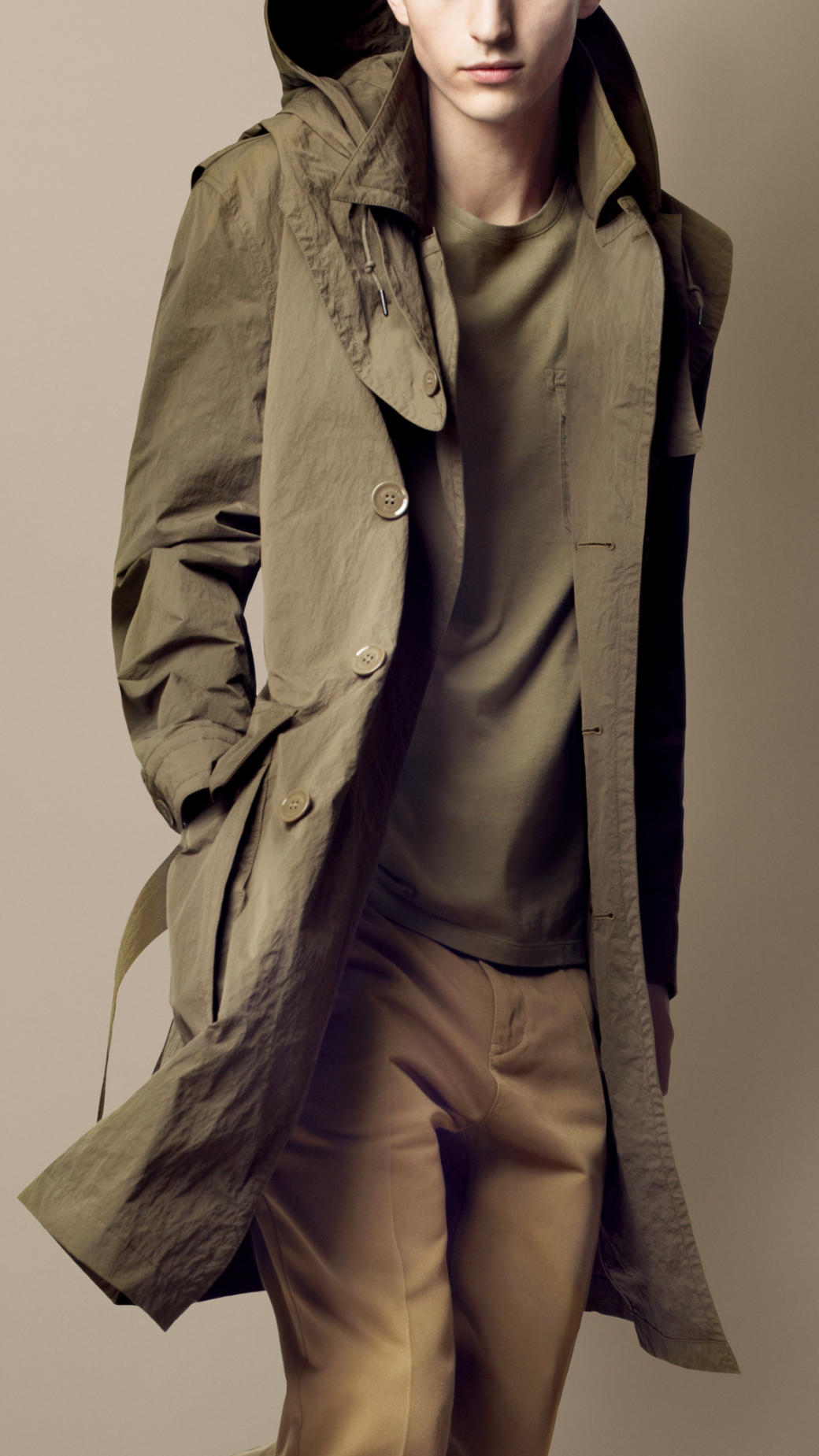 Burberry brit Long Hooded Trench Coat in Natural for Men | Lyst