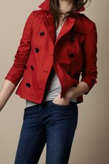 Burberry Brit Short Cotton Trench Coat - Lyst