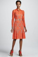 Carolina Herrera Chantilly Lace Shirtdress - Lyst