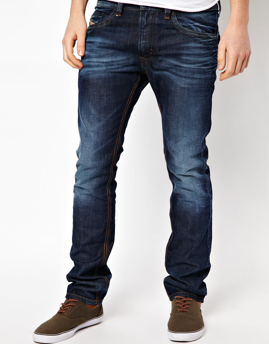 diesel jeans thavar slim fit dark wash in blue for men lyst. Black Bedroom Furniture Sets. Home Design Ideas