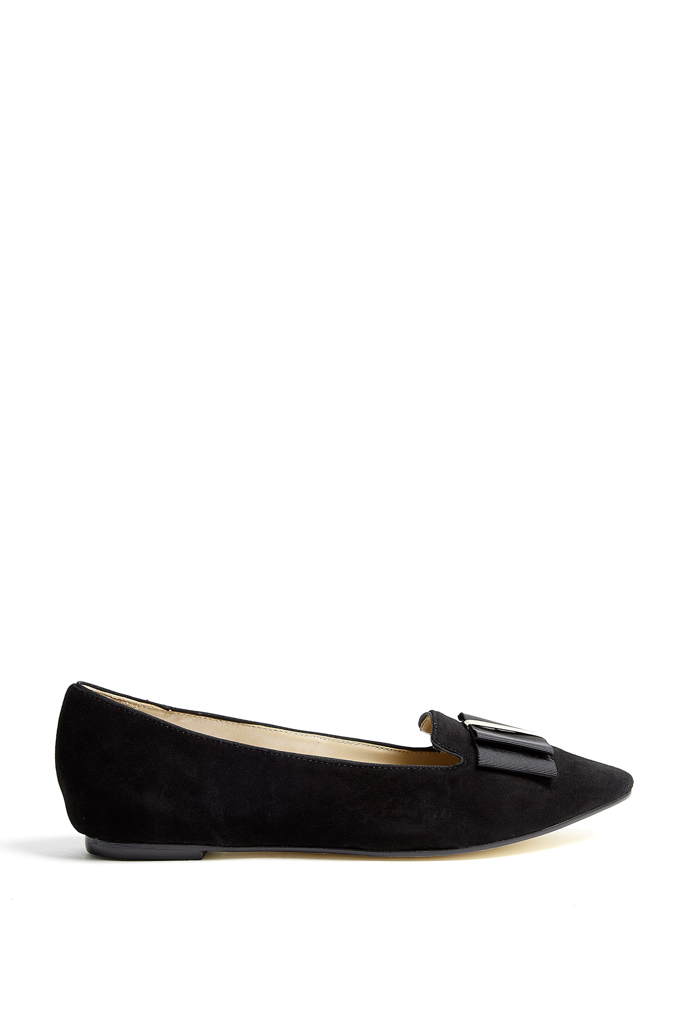 dkny trista suede tuxedo bow flat shoes in black lyst