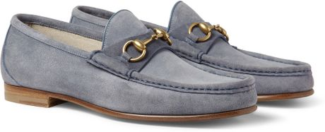 Gucci Horsebit Suede Loafers in Blue for Men