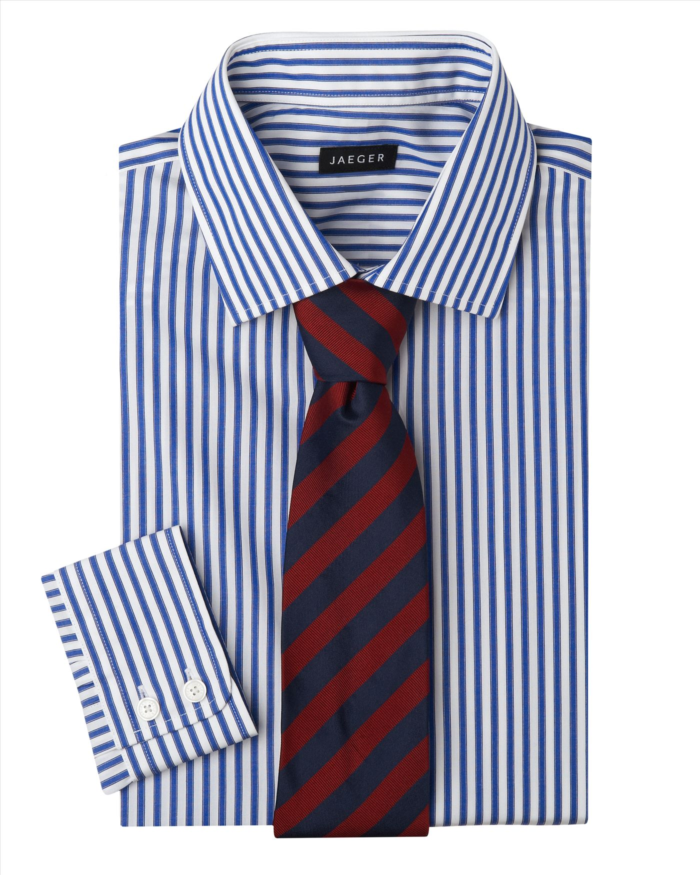 Easy Iron 25 Mg: Jaeger Easy Iron Banker Stripe Shirt In Blue For Men (navy