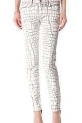 Just Cavalli Croc Coated Skinny Jeans - Lyst