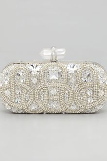 Marchesa Lily Medium Embroidered Stone Box Clutch - Lyst