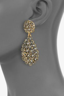 Oscar de la Renta Paveacute Stone Accented Drop Clipon Earrings - Lyst