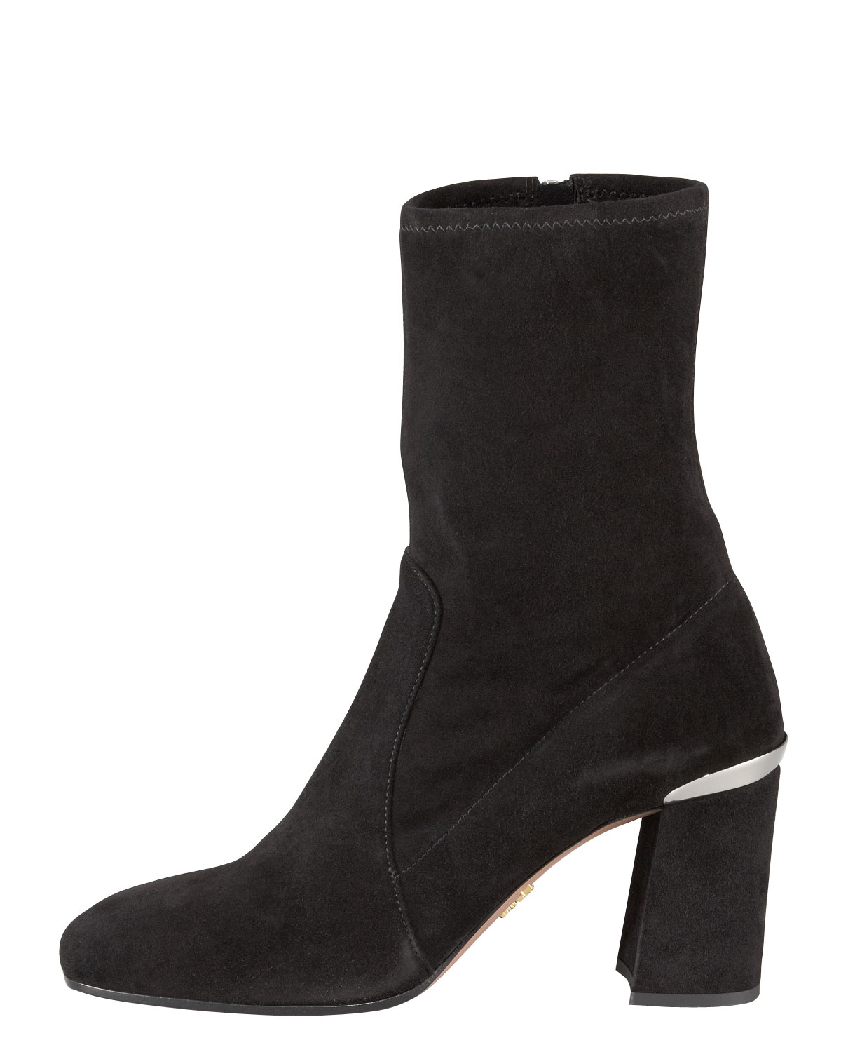 Prada Square-Toe Suede Booties big discount online EVdwKG