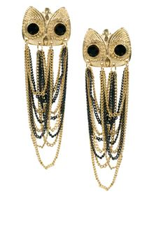River Island Owl Studs with Chain Dangle Earrings - Lyst