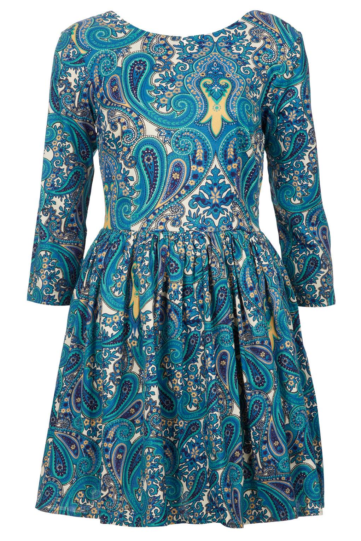 topshop paisley print skater dress in blue lyst