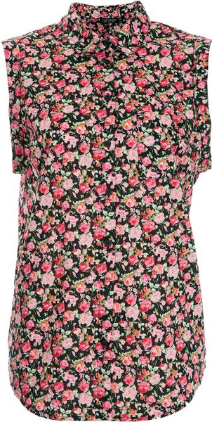 Topshop Sleeveless Casual Rose Shirt - Lyst