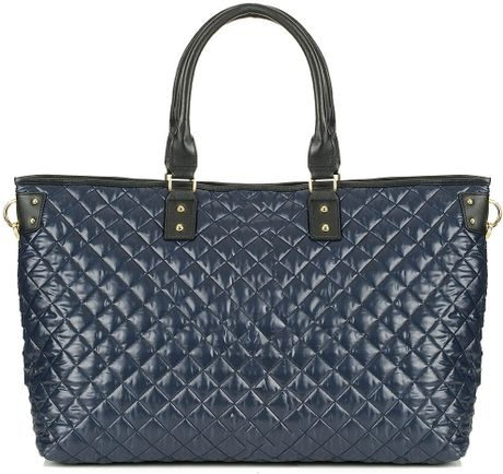 Topshop Quilted Luggage Tote Bag in Blue (navy blue)