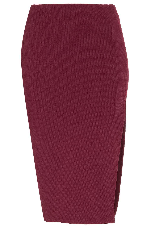 topshop textured split pencil skirt in purple lyst