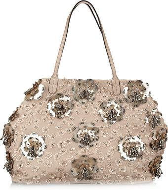 Valentino Floral Appliquéd Leather Tote - Lyst