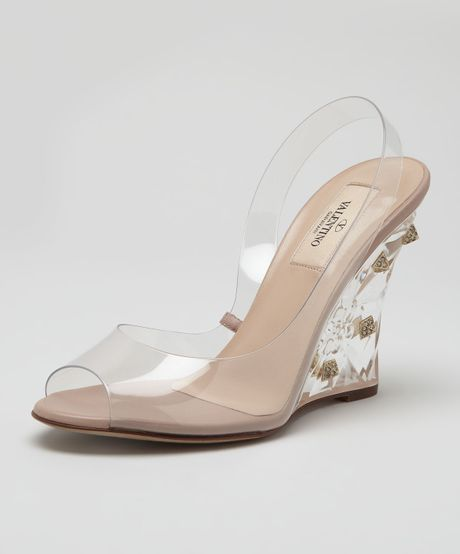 Valentino Naked Rockstud Wedge Sandal in Transparent (poudre) - Lyst