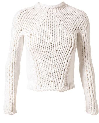 Alexander Wang Cropped Chunky Cotton Knit - Lyst