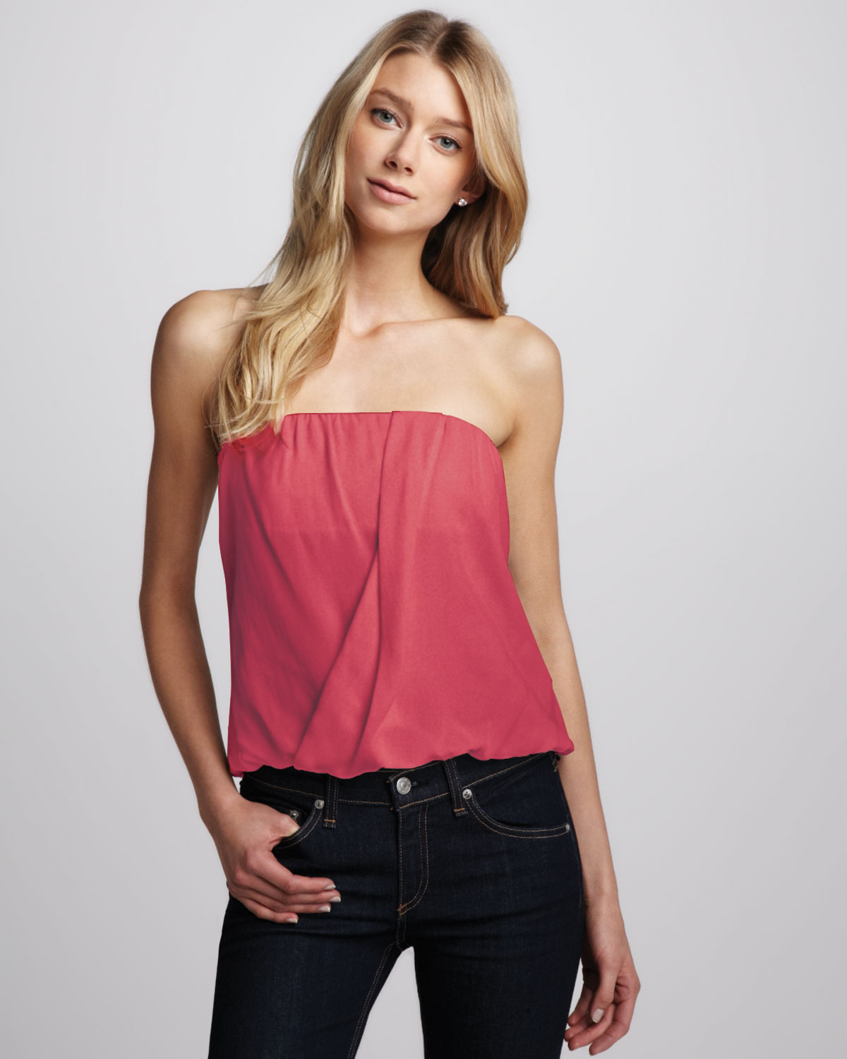 Alice olivia carmela draped tube top in pink lyst for Tube top pictures