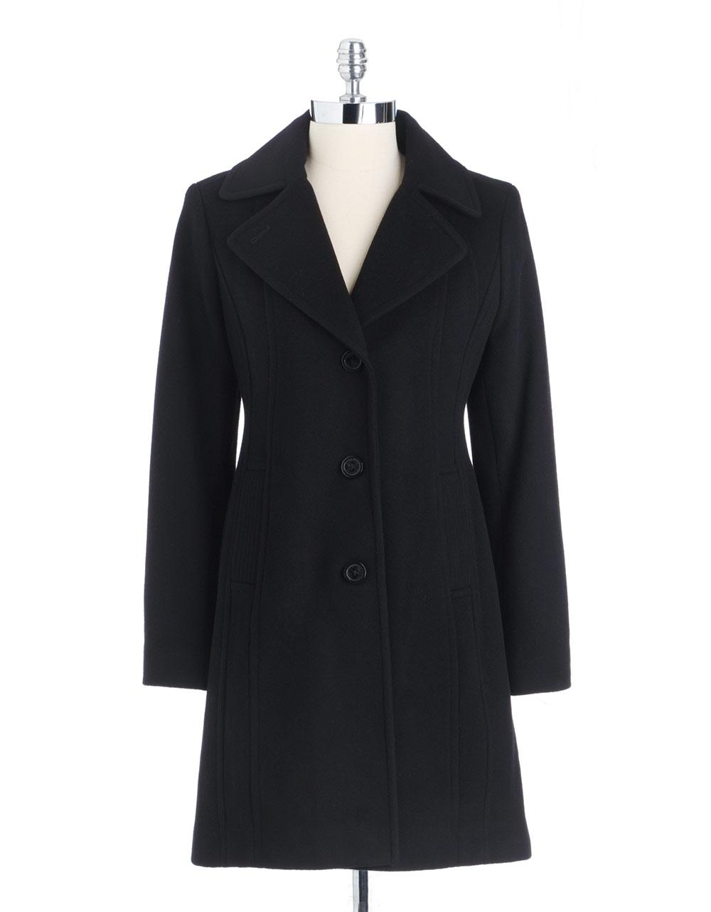 Anne Klein Button Front Coat In Black Lyst