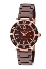 Anne Klein Ladies Brown Rose Gold Ceramic Crystal Watch - Lyst