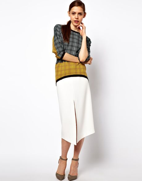 asos collection asos pencil skirt with centre front split