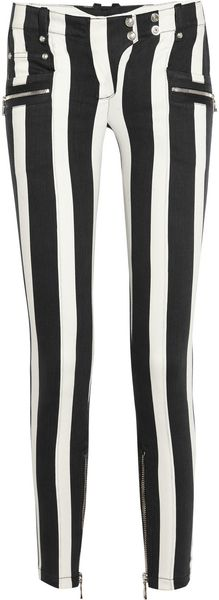 Balmain Striped Low-rise Skinny Jeans - Lyst